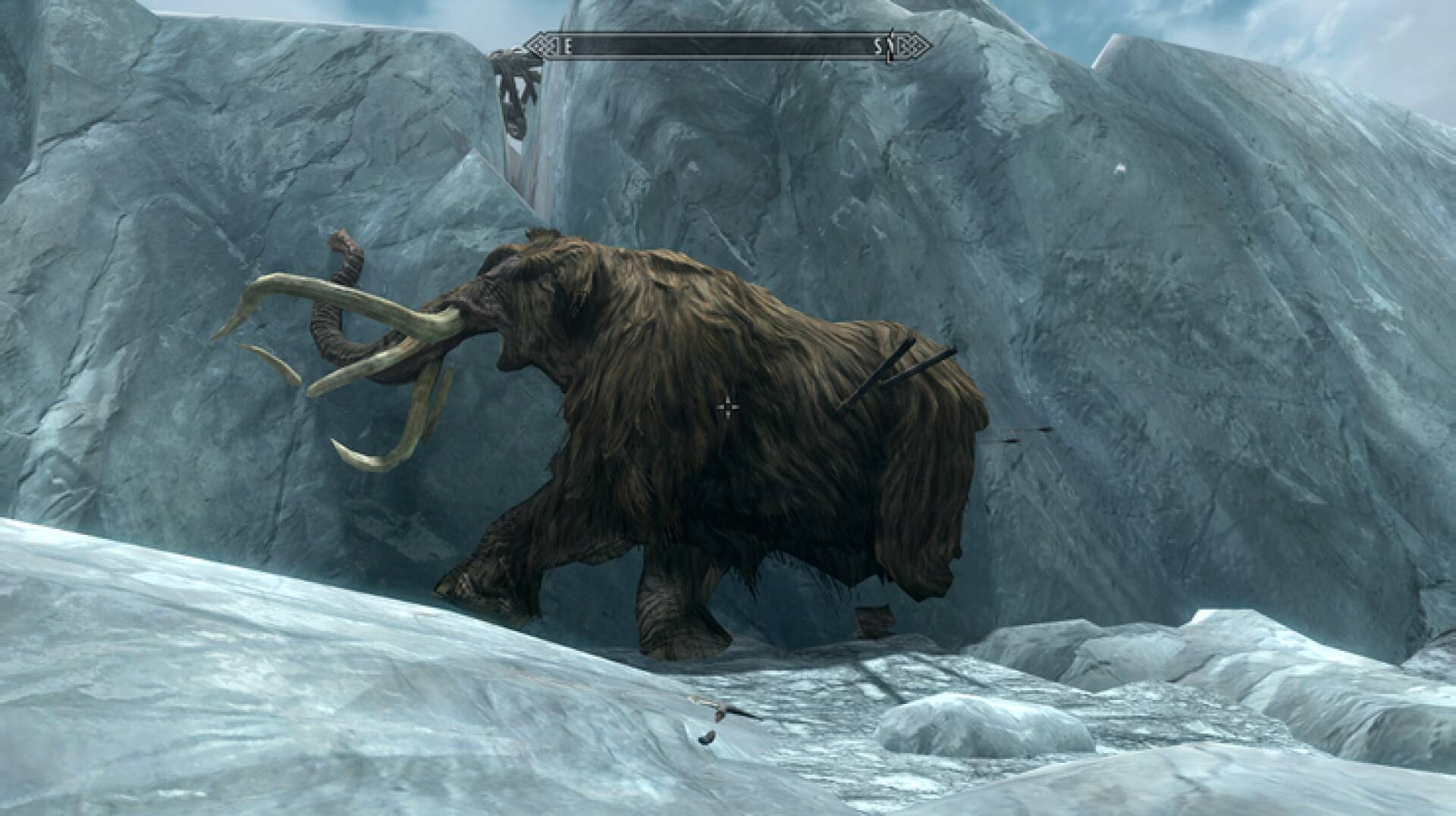 Skyrim, a mysterious creature found frozen in the ice